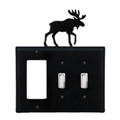 Wrought Iron Moose Combination Cover - Single GFI with Double Switch