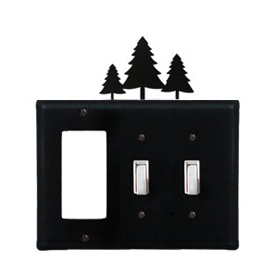 Wrought Iron Pine Trees Combination Cover - Single GFI with Double Switch