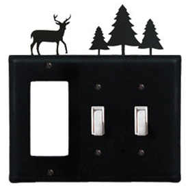 Wrought Iron Deer Combination Cover - Single GFI with Double Switch Pine Trees