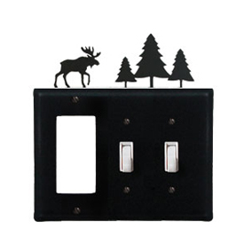 Wrought Iron Moose Combination Cover - Single GFI with Double Switch Pine Trees