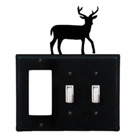 Wrought Iron Deer Combination Cover - Single GFI with Double Switch