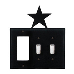 Wrought Iron Star Combination Cover - Single GFI with Double Switch