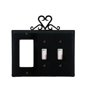 Wrought Iron Heart Combination Cover - Single GFI with Double Switch