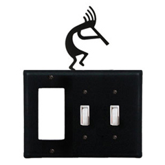 Wrought Iron Kokopelli Combination Cover - Single GFI with Double Switch