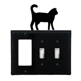 Wrought Iron Cat Combination Cover - Single GFI with Double Switch