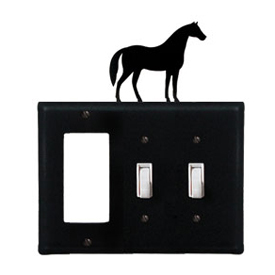 Wrought Iron Horse Combination Cover - Single GFI with Double Switch