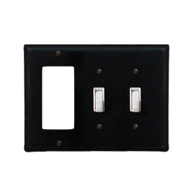 Wrought Iron Plain Combination Cover - Single GFI with Double Switch