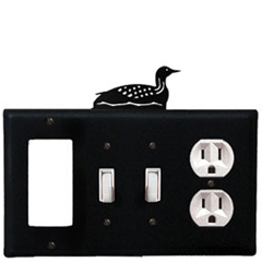 Wrought Iron Loon Combination Cover - GFI with Double Switch Center and Outlet