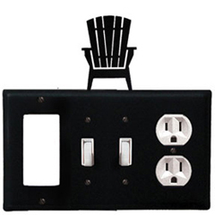 Wrought Iron Adirondack Combination Cover - GFI with Double Switch Center and Outlet