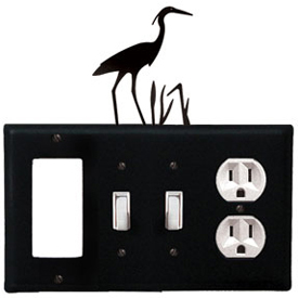 Wrought Iron Heron Combination Cover - GFI with Double Switch Center and Outlet