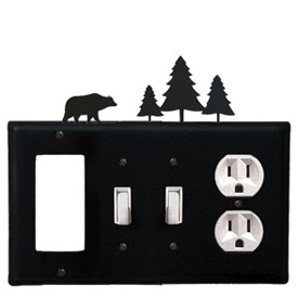 Wrought Iron Bear Combination Cover - GFI with Double Switch Center and Outlet