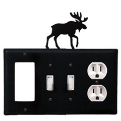 Wrought Iron Moose Combination Cover - GFI with Double Switch Center and Outlet