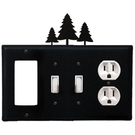Wrought Iron Pine Trees Combination Cover - GFI with Double Switch Center and Outlet