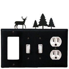 Wrought Iron Deer Combination Cover - GFI with Double Switch Center and Outlet Pine Trees