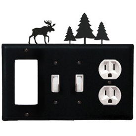Wrought Iron Moose Combination Cover - GFI with Double Switch Center and Outlet Pine Trees