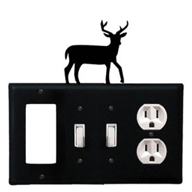 Wrought Iron Deer Combination Cover - GFI with Double Switch Center and Outlet