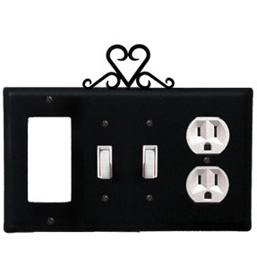 electrical wall plate covers decorative electrical wall.htm wrought iron heart combination cover gfi with double switch  wrought iron heart combination cover