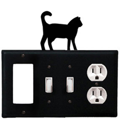 Wrought Iron Cat Combination Cover - GFI with Double Switch Center and Outlet