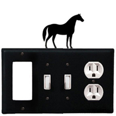 Wrought Iron Horse Combination Cover - GFI with Double Switch Center and Outlet