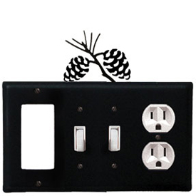 Wrought Iron Pinecone Combination Cover - GFI with Double Switch Center and Outlet