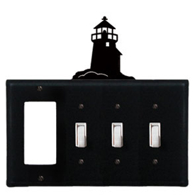 Wrought Iron Lighthouse Combination Cover - GFI with Triple Switch