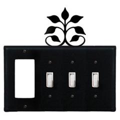 Wrought Iron Leaf Fan Combination Cover - GFI with Triple Switch