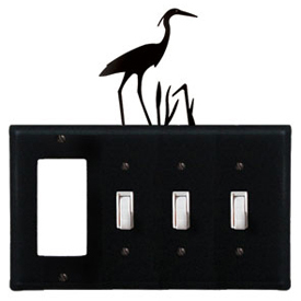 Wrought Iron Heron Combination Cover - GFI with Triple Switch