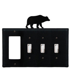 Wrought Iron Bear Combination Cover - GFI with Triple Switch