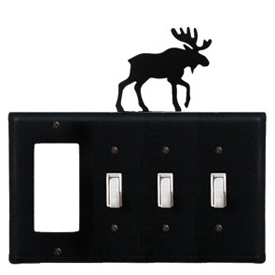 Wrought Iron Moose Combination Cover - GFI with Triple Switch