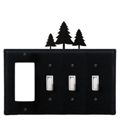 Wrought Iron Pine Trees Combination Cover - GFI with Triple Switch