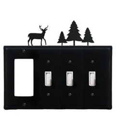 Wrought Iron Deer and Pine Trees Combination Cover - GFI with Triple Switch