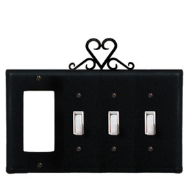 Wrought Iron Heart Combination Cover - GFI with Triple Switch
