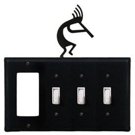 Wrought Iron Kokopelli Combination Cover - GFI with Triple Switch