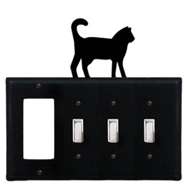 Wrought Iron Cat Combination Cover - GFI with Triple Switch