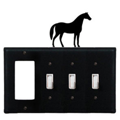 Wrought Iron Horse Combination Cover - GFI with Triple Switch