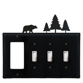Wrought Iron Bear and Pine Trees Combination Cover - GFI with Triple Switch