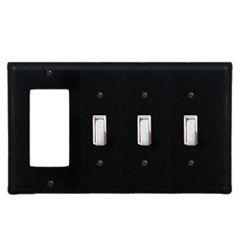 Wrought Iron Plain Combination Cover - GFI with Triple Switch
