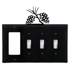 Wrought Iron Pinecone Combination Cover - GFI with Triple Switch