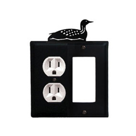 Wrought Iron Loon Combination Cover - Single Left Outlet with Single Right GFI