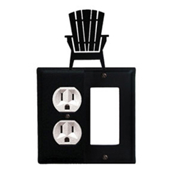 Wrought Iron Adirondack Combination Cover - Single Left Outlet with Single Right GFI