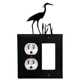 Wrought Iron Heron Combination Cover - Single Left Outlet with Single Right GFI