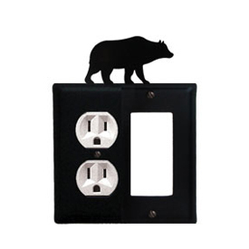 Wrought Iron Bear Combination Cover - Single Left Outlet with Single Right GFI