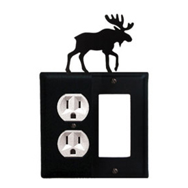 Wrought Iron Moose Combination Cover - Single Left Outlet with Single Right GFI