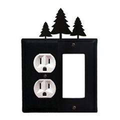 Wrought Iron Pine Trees Combination Cover - Single Left Outlet with Single Right GFI