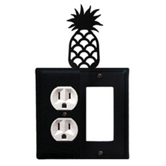 Wrought Iron Pineapple Combination Cover - Single Left Outlet with Single Right GFI