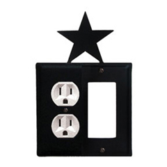 Wrought Iron Star Combination Cover - Single Left Outlet with Single Right GFI