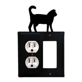 Wrought Iron Cat Combination Cover - Single Left Outlet with Single Right GFI