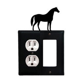 Wrought Iron Horse Combination Cover - Single Left Outlet with Single Right GFI