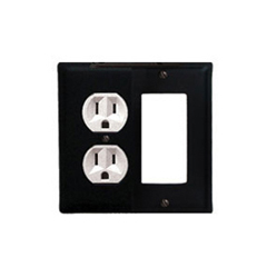 Wrought Iron Plain Combination Cover - Single Left Outlet with Single Right GFI
