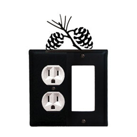 Wrought Iron Pinecone Combination Cover - Single Left Outlet with Single Right GFI
